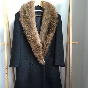 Vintage Perry Ellis Wool Coat with Fur Collar